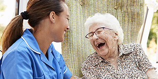 Elderly patient and carer